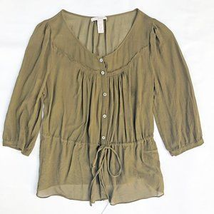J. Crew Beatrice Silk Top Olive Drawstring 6